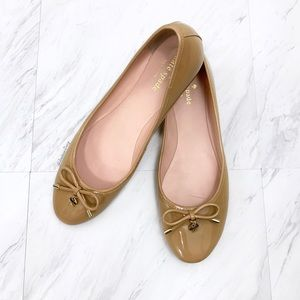 Kate Spade- Neutral Patent Leather Charm Flats 9.5